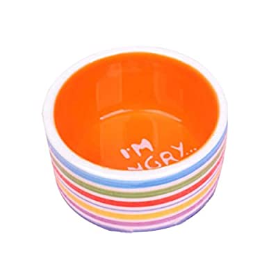 Pet Hamster Bowl Creative Stripes Pattern Pet Ceramic Prevent Tipping Moving Bowl Small Animals Cute Mini Feed Basin Pet Food Bowl for Pet Hamsters Mice Guinea Pig from Grifri