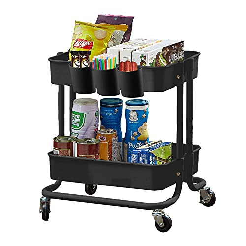 2-Tier Utility Rolling Cart Storage Sofa Side Table with Wheels,...