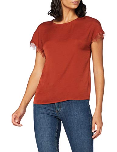 Only Onlava S/S O-Neck Lace Top Jrs Blusas, Burnt Henna, S para Mujer