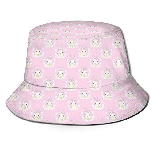 TENJONE Cute Print Bucket Hat Baby Rabbit with Ribbons Floral Spring Themed Soft Pink Tones Animals Hat S
