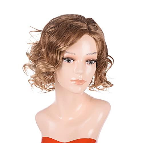 GSDJU Pelucas Mujer Pelo Natural Humano Corto Cabello Peluca Cosplay Flequillo Larga Real Rizado Sinteticas Trendy Hair Oncologicas 28 cm/11 inch dorado