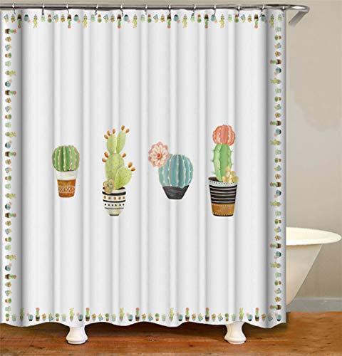 ZZZdz handbeschilderde cactus in bloempot, waterdicht, gemakkelijk te reinigen. 12 haken gratis 3D HD-druk niet vervagen. Douchegordijn, 180 x 180 cm