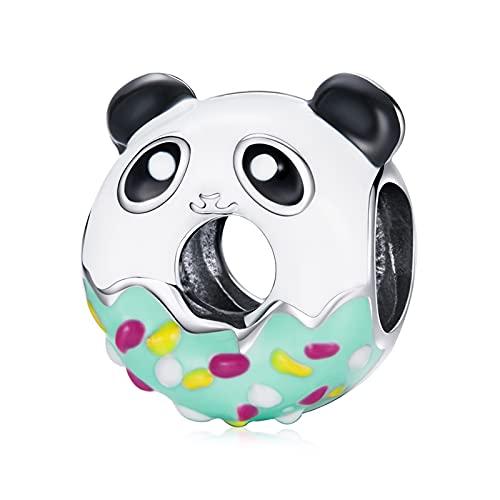 HMMJ Charm Colgantes, Panda Donuts Cuenta De Plata De Ley 925 para Pandora Chamilia Y Pulseras Y Collares Europeos