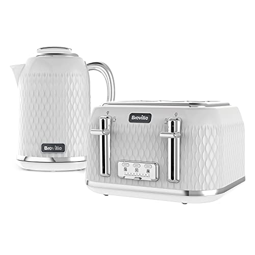 Breville Curve Kettle & Toaster Set with 4 Slice Toaster & Electric Kettle | 3 KW Fast Boil | White & Chrome