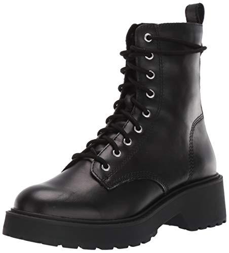 Steve Madden Women's Tornado Combat Boot, Black Leather, 8
