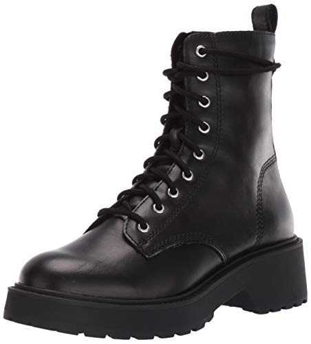 Steve Madden Women's Tornado Combat Boot, Black Leather, 7.5