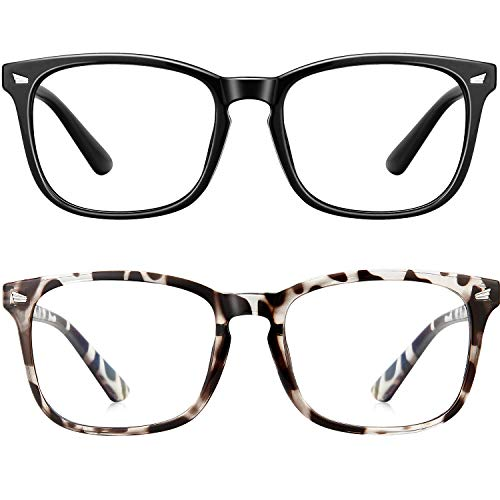 Blue Light Blocking Glasses Square Computer Glasses Women/Men, Nerd Reading Gaming Glasses Non Prescription (Black+Bean Flower)
