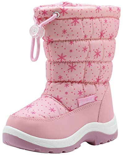 Apakowa Kid's Girls Cold Weather Snow Boots (Toddler/Little Kid) (8 M US Toddler,Tag Size 25, Pink2)