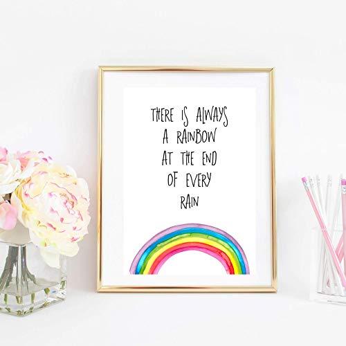 Kunstdruck ungerahmt Din A4 Spruch -There is always a rainbow- Typographie, Regenbogen Motivation Hoffnung, Druck, Bild, Poster, Geschenk