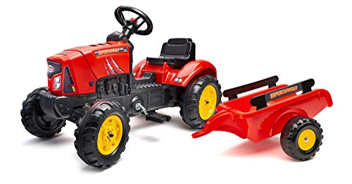 FALK - Tracteur à pédales Supercharger avec remorque - Dès 2 ans - Fabriqué en France - Capot ouvrant - volant directionnel avec klaxon - 2030AB