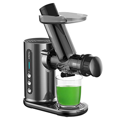 Juicer with Cleaning Brush, Could Press juicer, Slow Masticating Juicer with Large Feed Chute, Juicer Machine Easy to Clean with Juice Recipes for Vegetables and Fruits, Grey