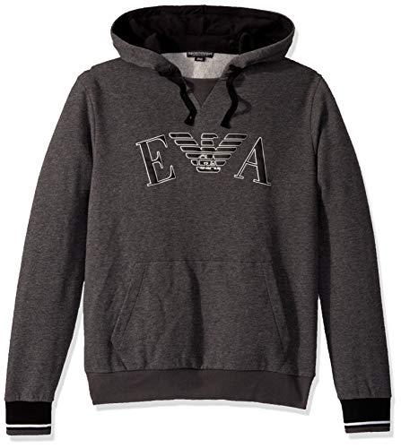 Emporio Armani Herren Iconic Terry Sweater Pyjama-Oberteil (Top), Dunkelgrau Melange, Large