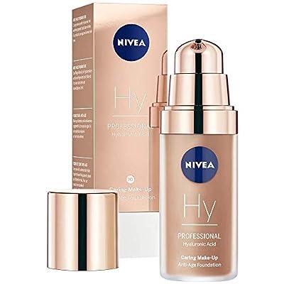 NIVEA PROFESSIONAL Hyaluronic Acid Make-Up Anti-Age Foundation (1 x 30 ml), 70W, Warm Skin Tone, Anti-Ageing Foundation with Effective Anti-Wrinkle Care, Combination Make-Up with 3x Anti-Age Effect
