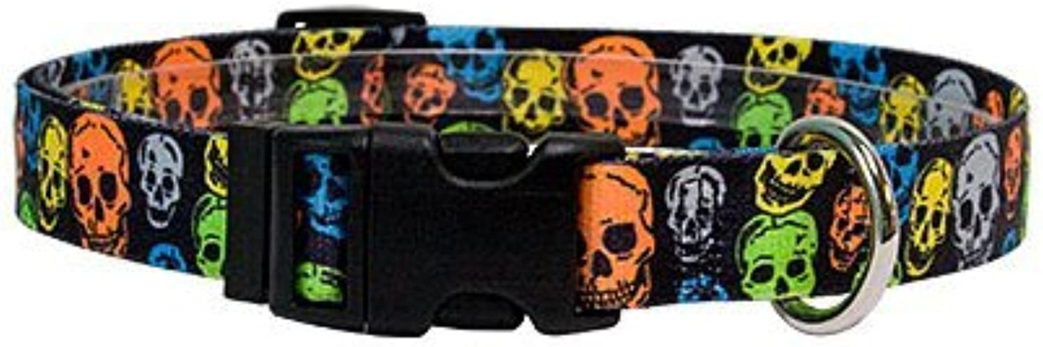Neon Skulls Martingale Control Dog Collar  Size Extra Small 10  Long  Made In The USA