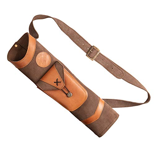 Bear Archery Superlite Traditional Shoulder Back Leather Arrow Quiver with Large Pouch