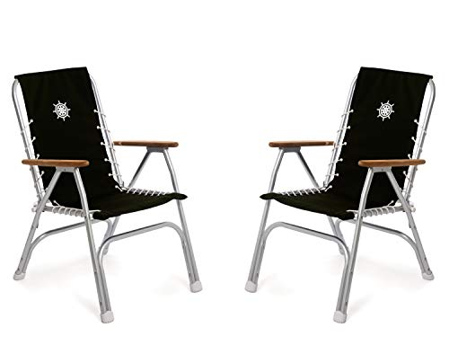 FORMA Marine Set of 2 Black High Back Deck Chairs, Boat Chairs, Folding, Anodized, Aluminium, Model M150BL