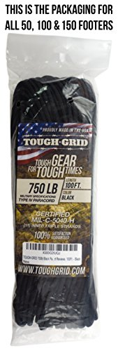 TOUGH-GRID 750lb Paracord/Parachute Cord - Genuine Mil Spec Type IV 750lb Paracord Used by The US Military (MIl-C-5040-H) - 100% Nylon - Made in The USA. 8