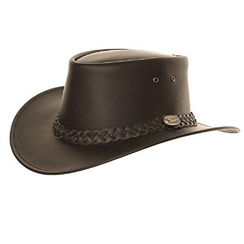 Hawkins – Chapeau australien en cuir imperméable style Bute - Noir - Medium
