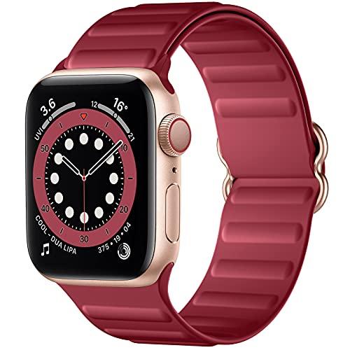 Charlam Compatible con Apple Watch Correa 38mm 40mm 42mm 44mm, Deportivas de Suave Silicona Correas de Repuesto, Compatible con iWatch SE Series 6 5 4 3 2 1, 42mm/44mm, Vino Rojo