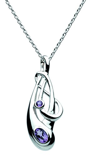 Heritage Women's Sterling Silver and Amethyst Art Nouveau Necklace of Length 18 inches