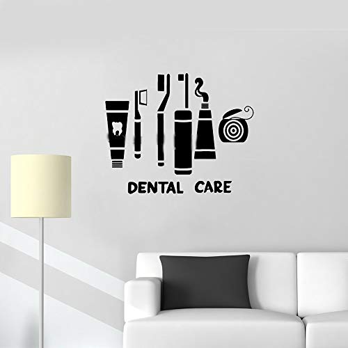 Vinly Art Decal Woorden citaten tandheelkundige zorg pak Decal Clinic tandenborstel Floss Badkamer Decor 18x12 inches