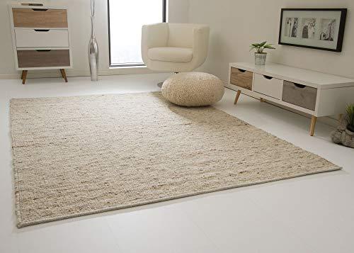 Landshut Handweb Teppich aus 100% Schurwolle - natur, Größe: 90x160 cm
