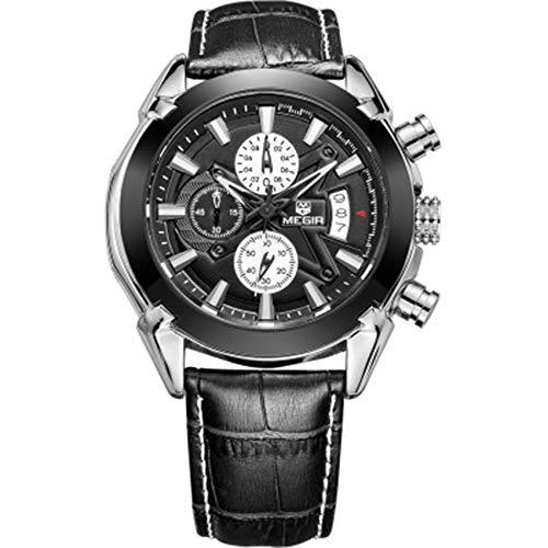 W.zz Reloj Hombre CronóGrafo Impermeable Cuarzo AnalóGico Acero Inoxidable Cuero Brazalete Diseño Reloj de Pulsera Regalo para Hombre,Negro