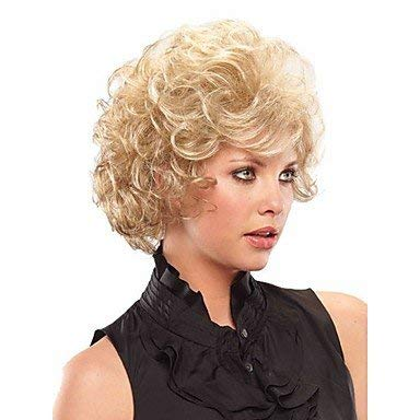 WIGSHER Femme Perruque synthétique Courte frisée Blonde Halloween Perruque Carnaval Perruque Costume Perruque