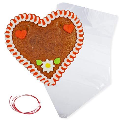 Lebkuchenherz Rohlinge mit Rand & Deko - Rot-Weiß - 12cm inkl. Wiederverpackung - Lebkuchenherzen selbst gestalten LEBKUCHEN WELT