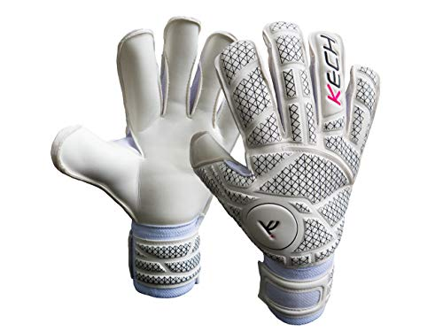 Kech GK Goalkeeper Gloves (Sizes 6-10)   EVA Fingersaves Protection   German Giga and Contact Grip Palms   Negative Roll-Finger Cut   Professional Elite Goalie Glove (White, 6)