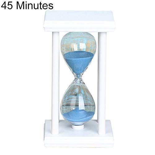 Mggsndi 45/60min Fashion Modern Design Wooden Sand Clock Sandglass Hourglass Timer - Kitchen School Home Decor - Best Birthday for Boys and Girls Adults White + Blue 60 Minutes
