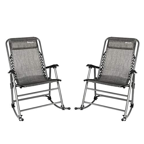 Bonnlo Set of 2 Zero Gravity Rocking Chair Patio Lawn Chair, Beach Reclining Folding Chairs, Outdoor...