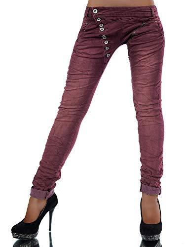 Damen Jeans Hose Boyfriend Damenjeans Harem Baggy Chino Haremshose L368, Größen:42 (XL), Farben:Burgunder