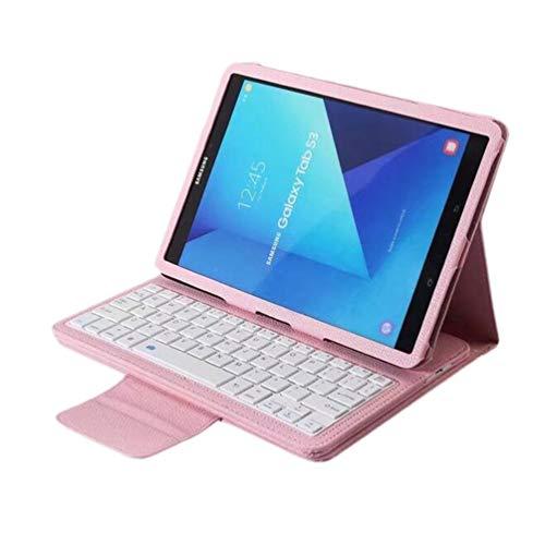 Solustre Funda para teclado Galaxy Tab S3 Funda Ultra-fina con teclado inalámbrico desmontable para Samsung Galaxy Tab S3 9.7 pulgadas T820 / T825 (Rosa)