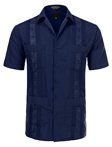 Allsense Men's Short Sleeve Cuban Guayabera Shirts 20-20.5N 4XL Navy