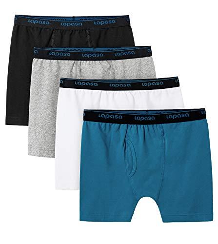 LAPASA 4er Pack Stretch Boxershorts aus Baumwolle für Jungen Comfort Trunk Underwear w Open Fly B07 (Mehrfarbenauswahl 1, L)