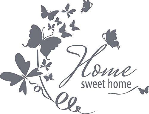 GRAZDesign Wandtattoo Home Sweet Home Wand-Spruch für Eigenheim Für Schränke- Möbel im Wohnzimmer- Küche -Flur (66x50cm//071 grau)