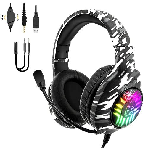 EMPIRE GAMING - Dark Rainbow G-D20W Casque Gamer RGB - PS5, PS4, Xbox One/Series, PC, Mac, Smartphones, tablettes - Son Stéréo Haute Définition - Télécommande - Microphone Flexible Omnidirectionnel