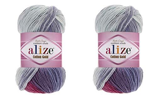 Alize Cotton Gold Batik-Garn, 55 % Baumwolle, 45 % Acryl, 2 Knäuel, 200 g, 722 Yards Strickgarn, 2 Sportgarn 3686