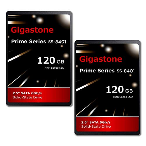 """Gigastone 120GB 2.5' Internal SSD 2-Pack 3D NAND Solid State Drive, SATA III 6Gb/s 2.5 inch 7mm (0.28""""), Read up to 550MB/s"""