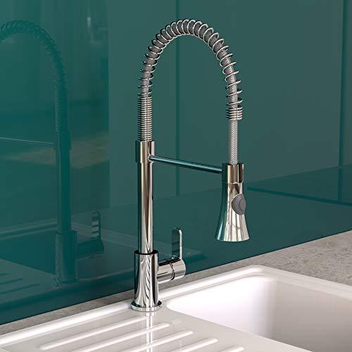 EISL Küchenarmatur LEON Wasserhahn Küche mit ausziehbarer Geschirrbrause, Spültischarmatur 360° schwenkbar, energiesparender Einhebelmischer NI183ESCR-PR-A, Spiralfeder Chrom, Hochdruck