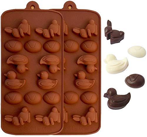 HelpCuisine® 2er Set mit je 14er Silikon-Schokoladenförmchen, Pralinenform, Enten, Hasen und Eier, Farbe: Braun.