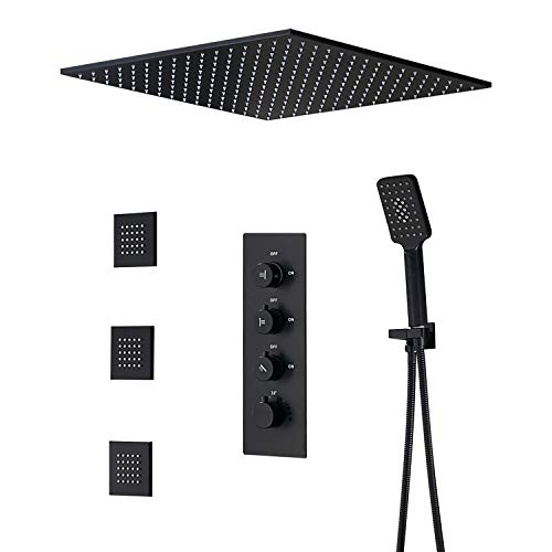 JiaYouJia 20'' Rain Shower System with Square Shower Head & 3-Function Thermostatic Shower Valve & Hand Shower & Body Spray Jets in Matte Black Lead-free Shower Combo Set for Bathroom