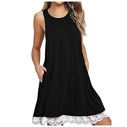 Manygood Vestido de mujer Una línea de encaje dobladillo empalme verano plisado cuello redondo playa Midi vestidos casual sin mangas camiseta vestido bolsillo
