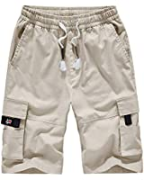 Men's Cargo Shorts Relaxed Fit Multi-Pockets Cotton Casual Shorts A901 Off White M