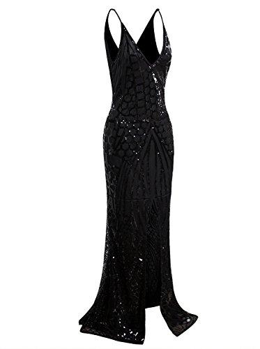 VIJIV 1920s Long Slit Prom Dresses Deep V Neck Sequin Mermaid Bridesmaid Evening Dress