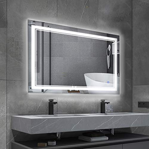 BBE 32 x 24 Inch LED Bathroom WallMounted Mirror AntiFog Makeup Mirror with Dimmable Light and Touch ButtonHorizontal/Vertical