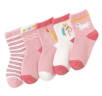 Happy Cherry 5 pares de calcetines para niños, suaves, de algodón, para niños, niñas, calcetines de bebé, elásticos, unisex, con diseño encantador Rosa Unicornio (5 Pares) S