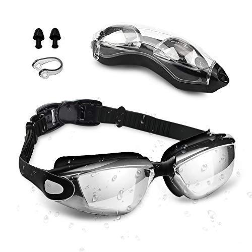 otumixx Schwimmbrille, Schwimmbrillen Kein Auslaufen Antibeschlag und UV Schutz mit Nasenklammern Ohrstöpsel Erwachsene Schwimmbrille für Männer Frauen, Schwarz