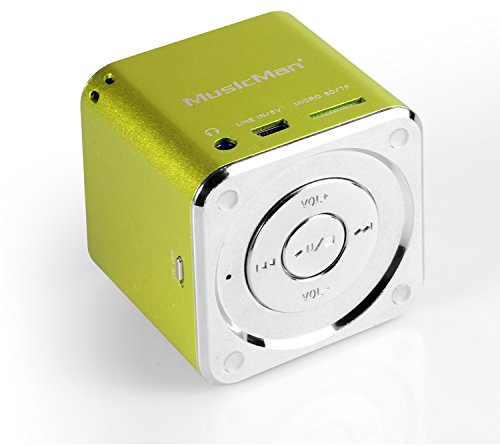 MusicMan Mini Soundstation (MP3 Player, Stereo Lautsprecher, Line In Funktion, SD/microSD Kartenslot) grün
